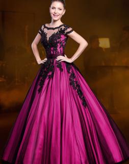 Vestido de debutante rosa e preto